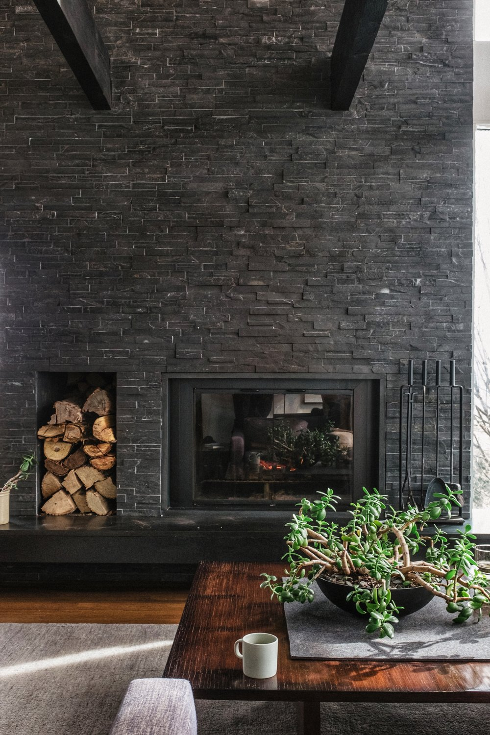 fireplace at the linden house