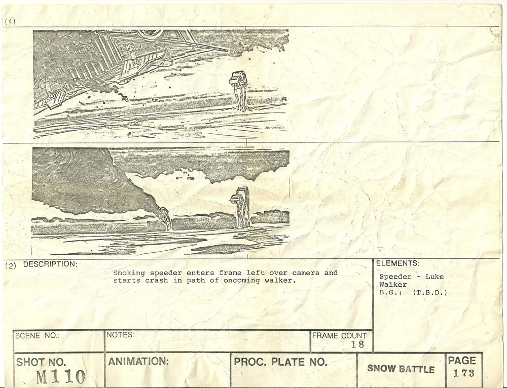 A snowspeeder gets shot down in this storyboard from THE EMPIRE STRIKES BACK - The Christopher Corey Smith Collection