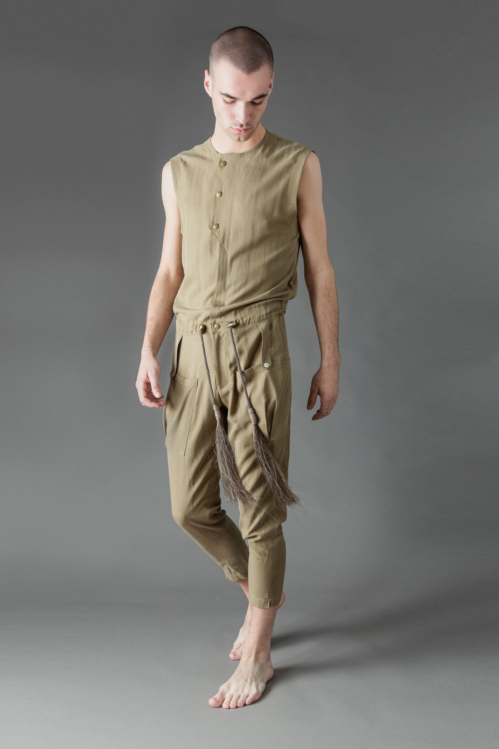sandblasted silk jumpsuit with horsehair tassels