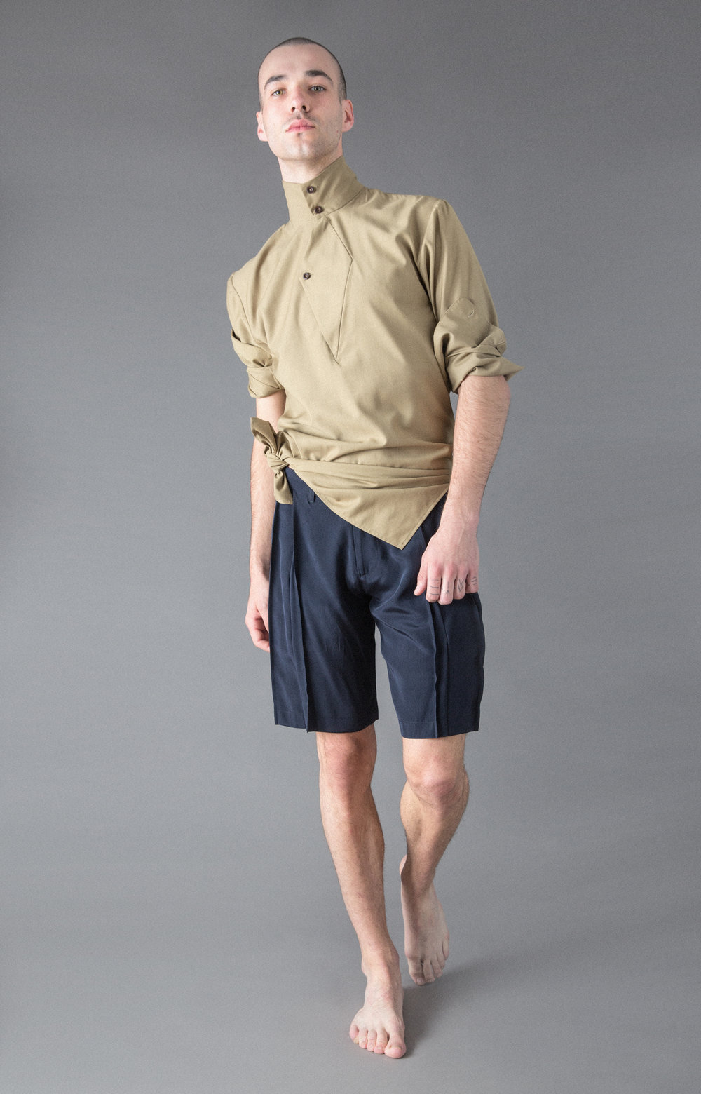silk tunic, pleated silk shorts