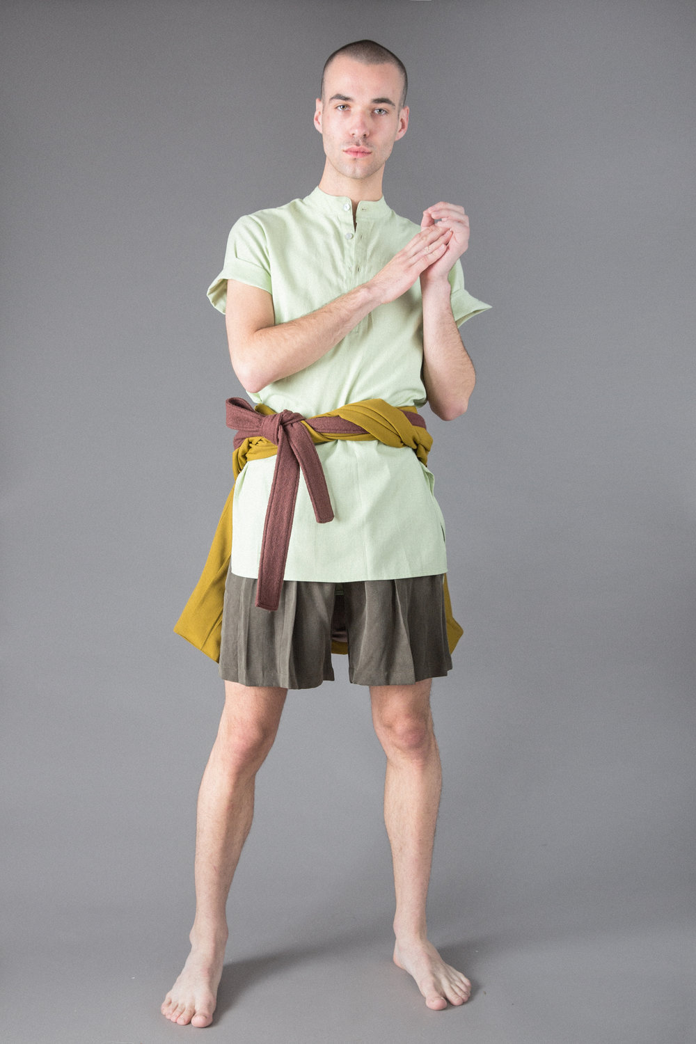 pleated cotton canvas jacket, linen tunic, tensel shorts