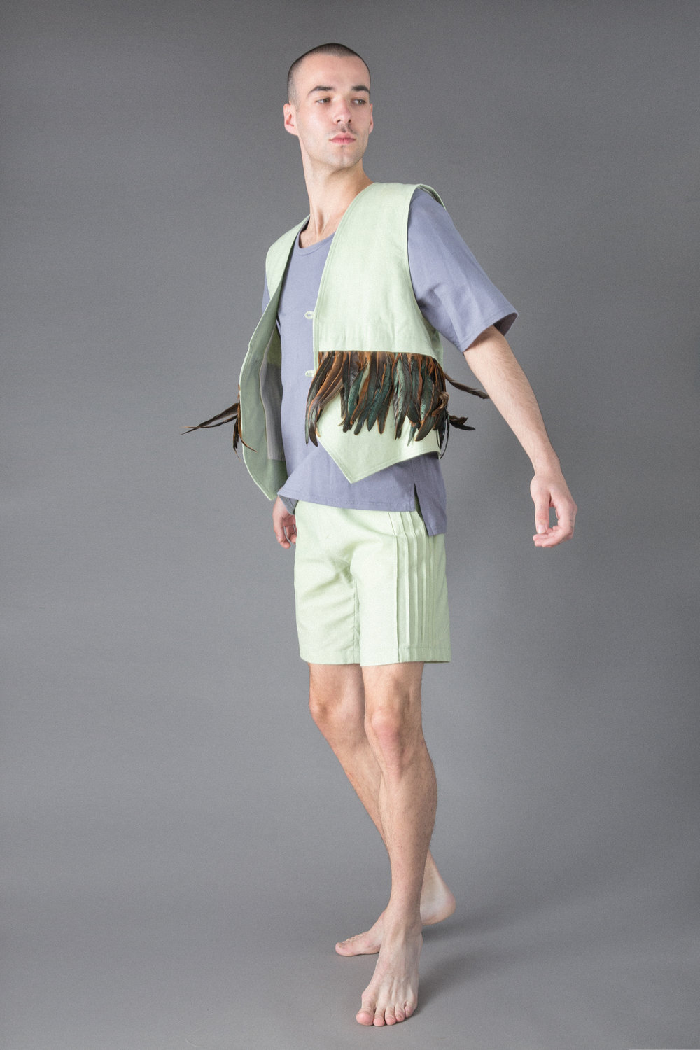 bamboo jersey t, linen shorts, linen and feather vest