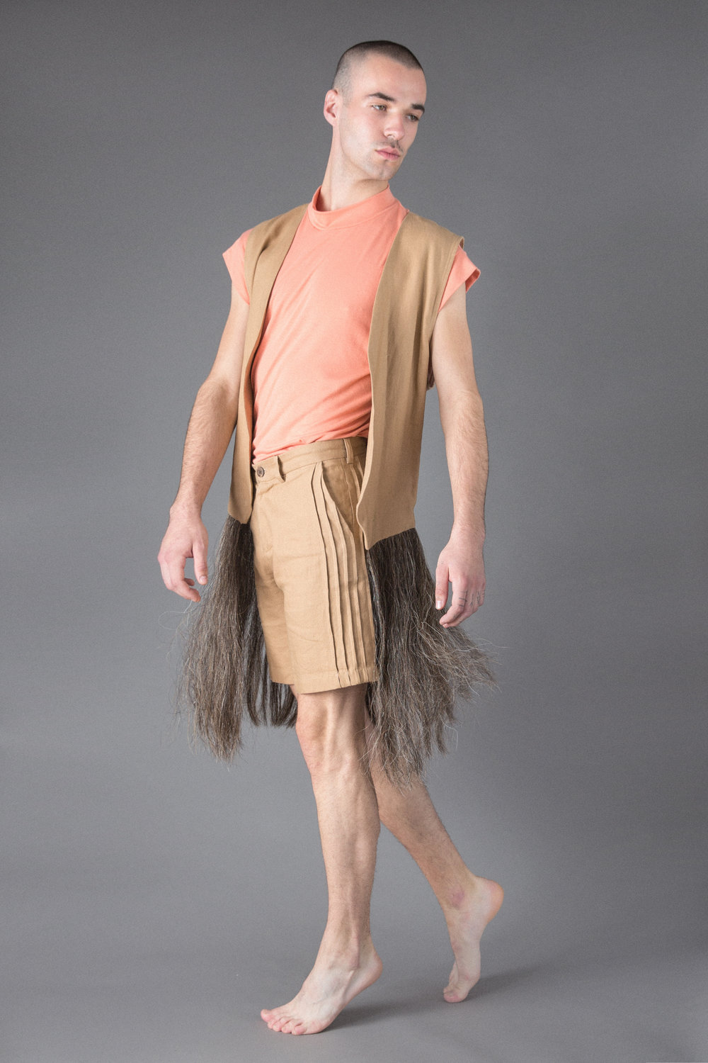 cotton t, linen shorts, linen and horsehair vest