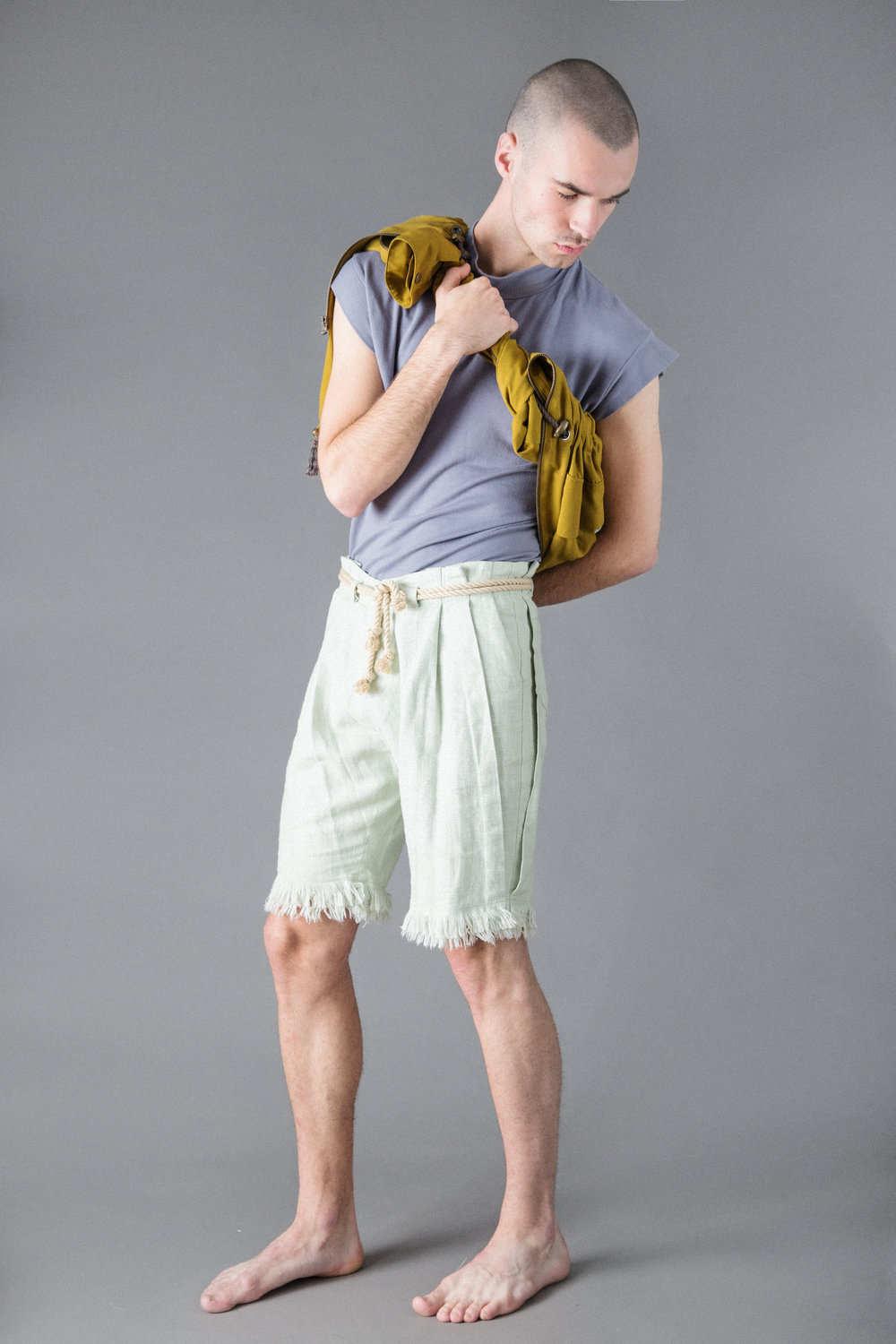 bamboo jersey t, linen shorts, cotton jacket