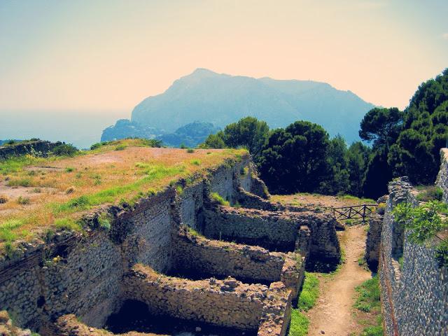 Ancient baths, ruins in Villa Jovis