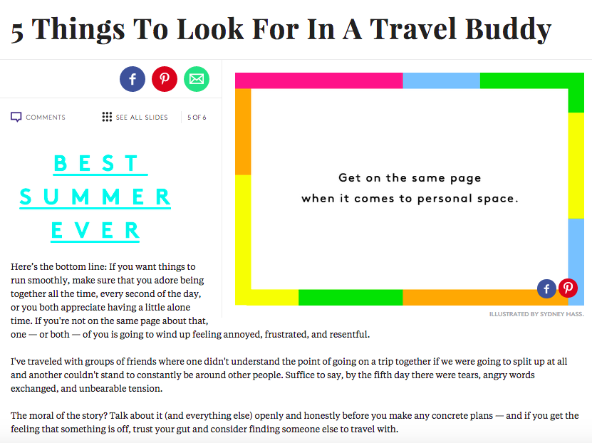 REFINERY29 : 5 THINGS TO LOOK FOR IN A TRAVEL BUDDY