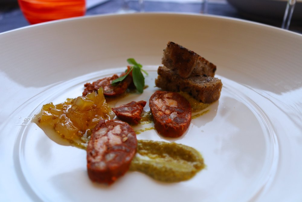 WILD BOAR CHORIZO AND OLIVE WALNUT CROUTON WITH HOUSE MUSTARD AND GREEN MANGO JAM
