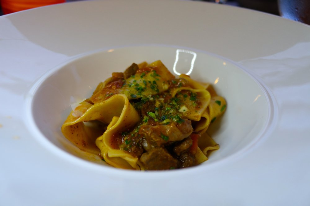 SLOW-BRAISED WILD BOAR RAGOUT WITH HAND-CUT PAPPARDELLE AND CITRUS GERMOLATA