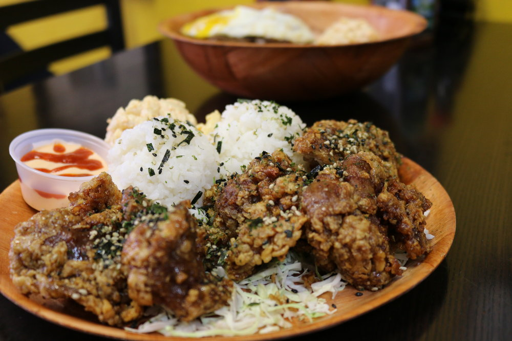 GARLIC FURIKAKE FRIED CHICKEN, TWO SCOOPS OF WHITE RICE AND MAC SALAD
