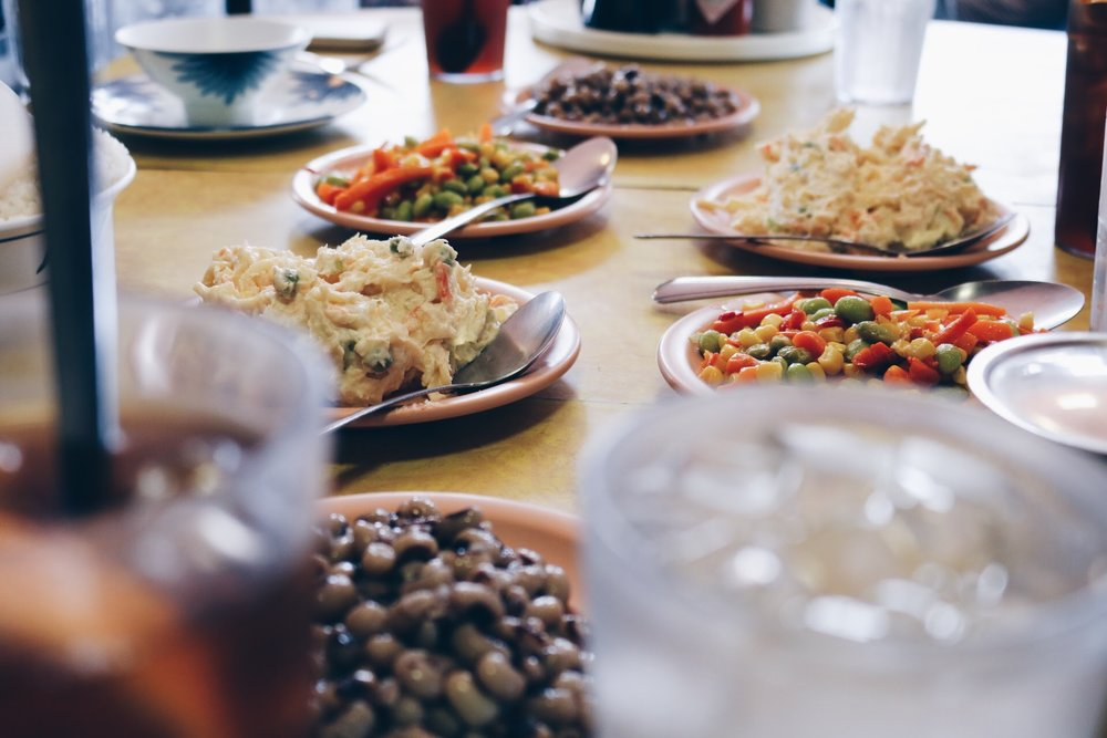BUTTERY BLACK-EYED PEAS, CORN/EDAMAME/CARROT, AND CREAMY POTATO SALAD