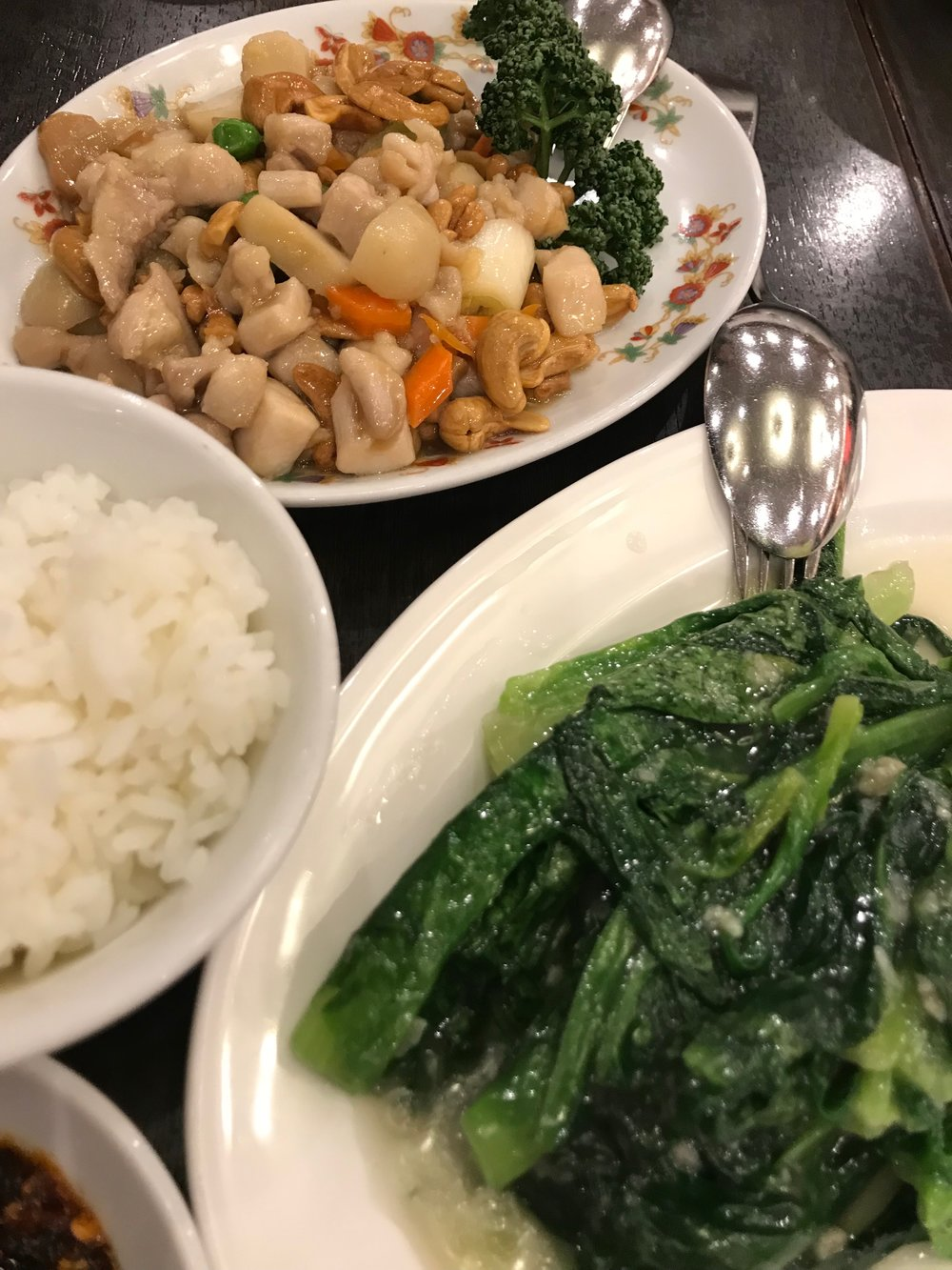 Cashew chicken with Taiwanese greens