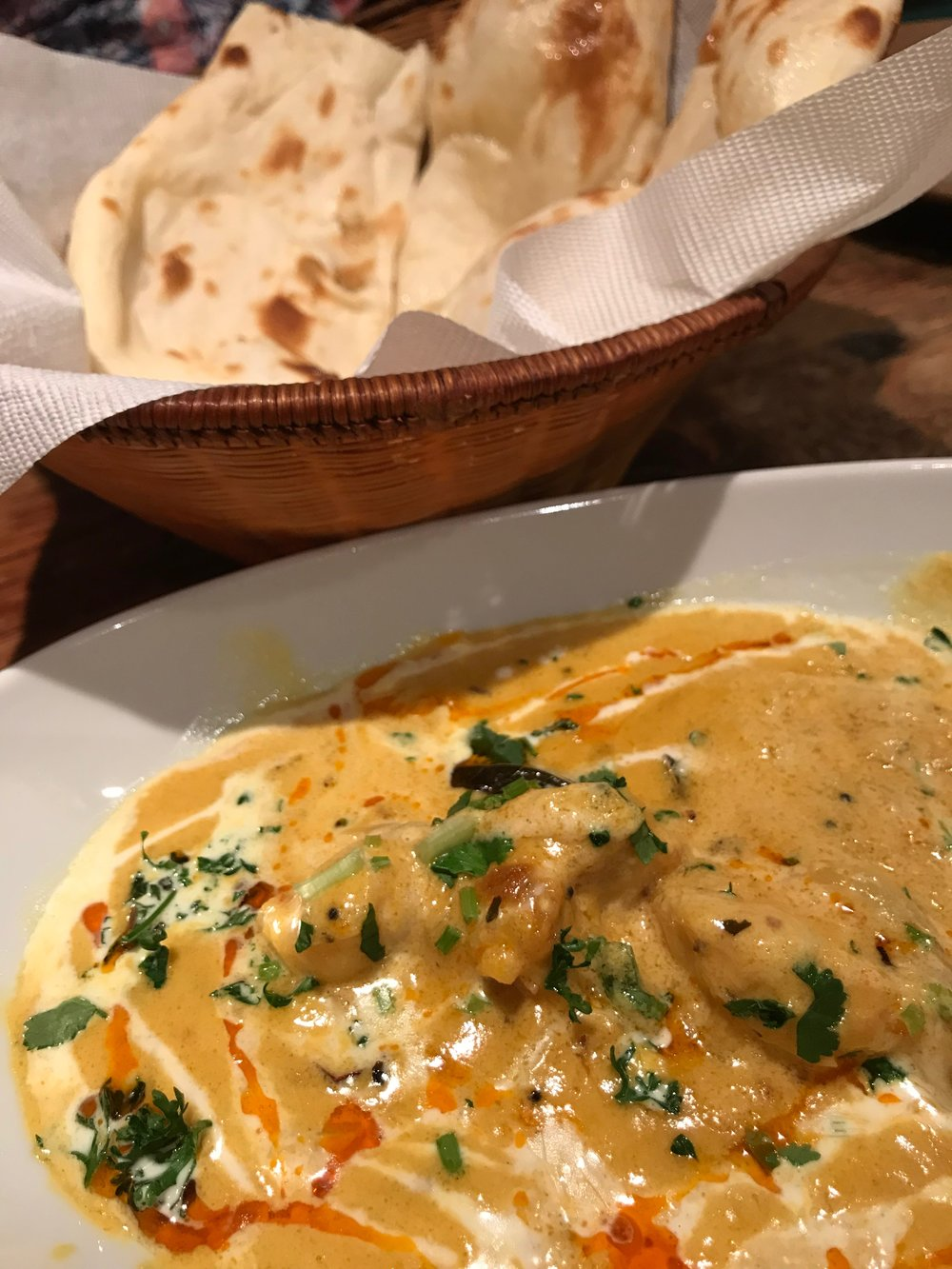 Shrimp curry with the best naan (we ordered two more baskets because it was perfection)