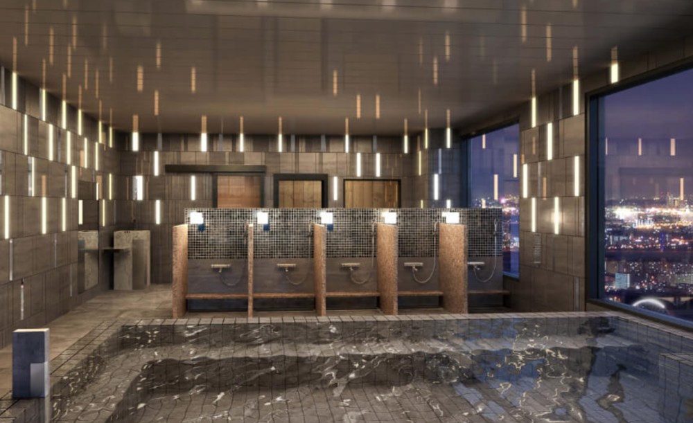 Indoor bath and showers at  Candeo Roppongi 's  SkySpa