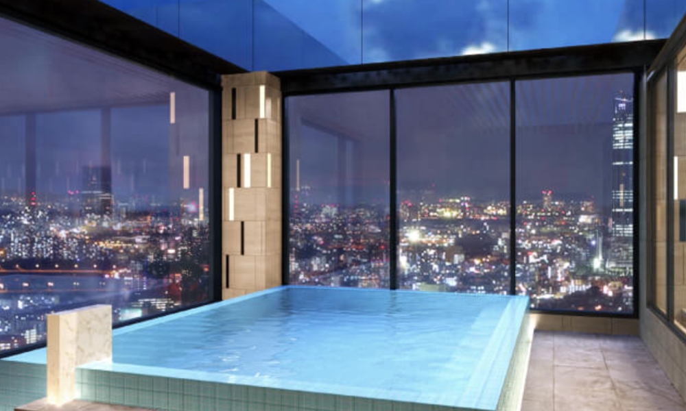 Outdoor bath at the  SkySpa  (note that there are usually frosted shades that go halfway up the windows)