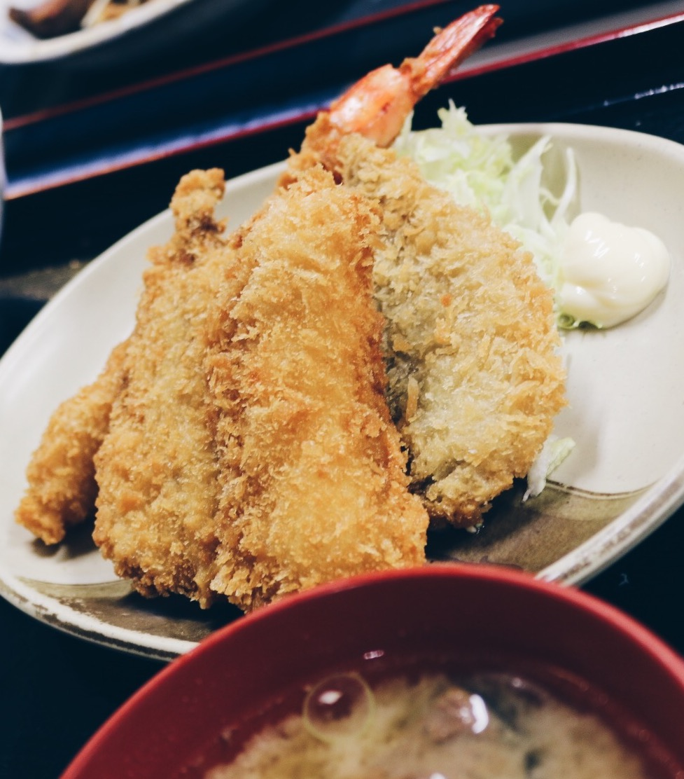 Various catch of the day fish and shrimp tempura