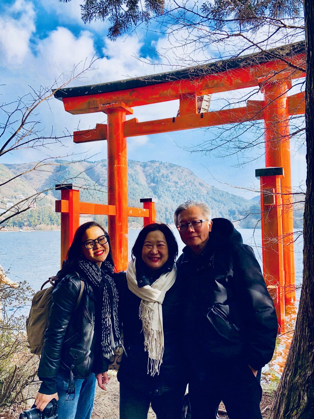 Feeling that golden hour glow at Hakone Shrine with Mama and Papa Chiu