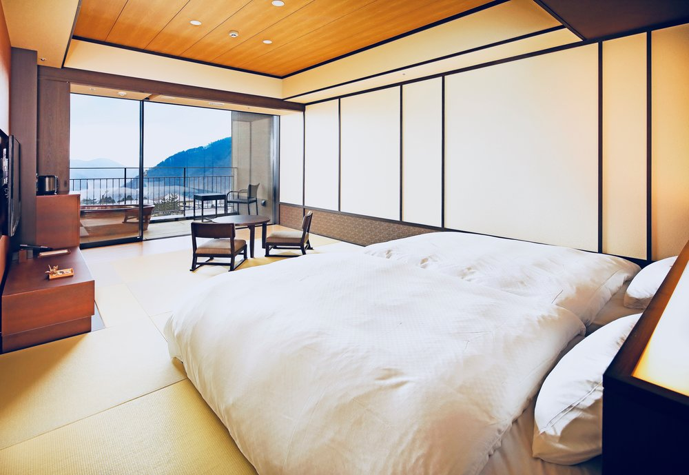 "Our ""Superior Room with Open-Air Bath"" at  Hakone Kowakien Tenyu"