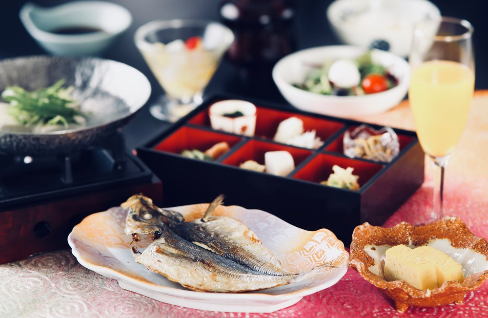 Japanese breakfast spread