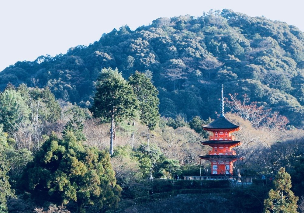 View of the pagoda from the largest temple in Kyoto, Kiyomizu-dera