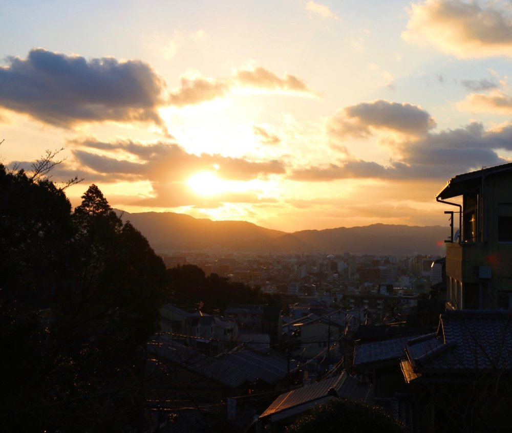 Sunset over Gion on the walk to Ishibel-koji