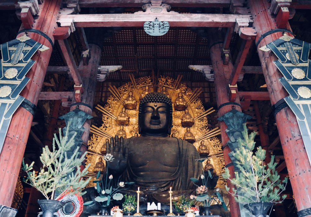 The largest bronze statue of the Buddah at Todai-ji