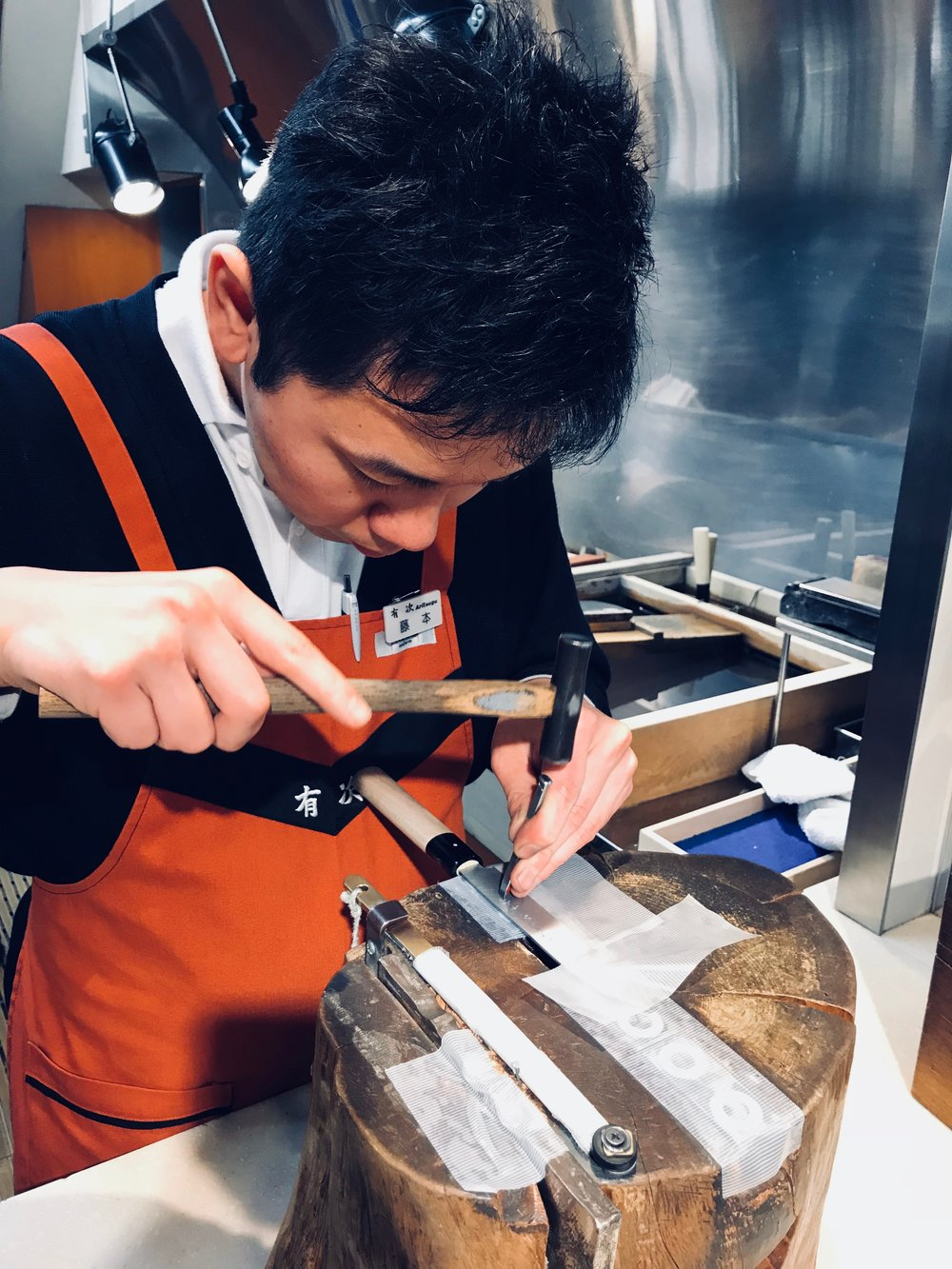 Got my very own Aritsugu chef's knife with my name in Japanese being engraved onto it