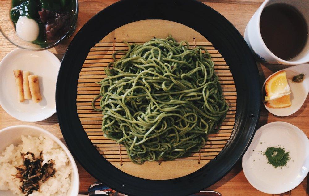 Matcha soba noodles from  Nakamura Tōkichi Honten
