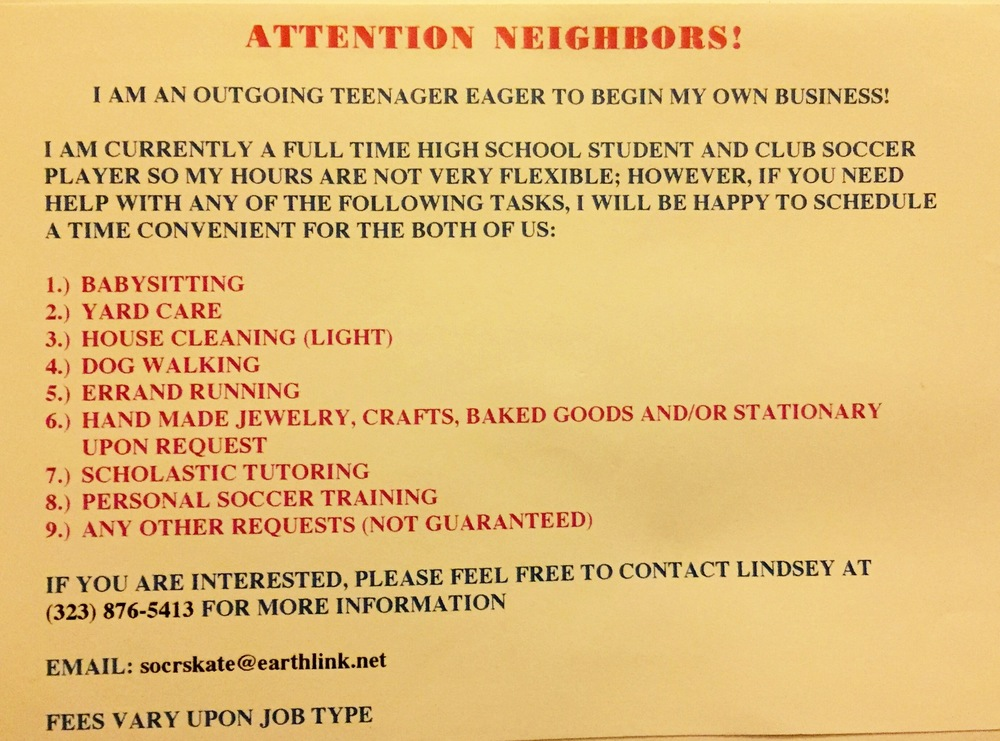 Neighborhood Business Original Flyer