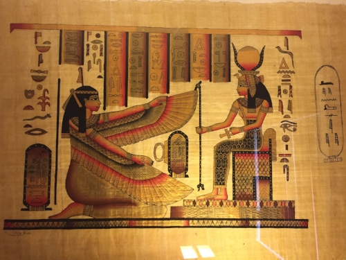 Egyptian Painting of Maat and Hathor on Papyrus from Venice Boardwalk