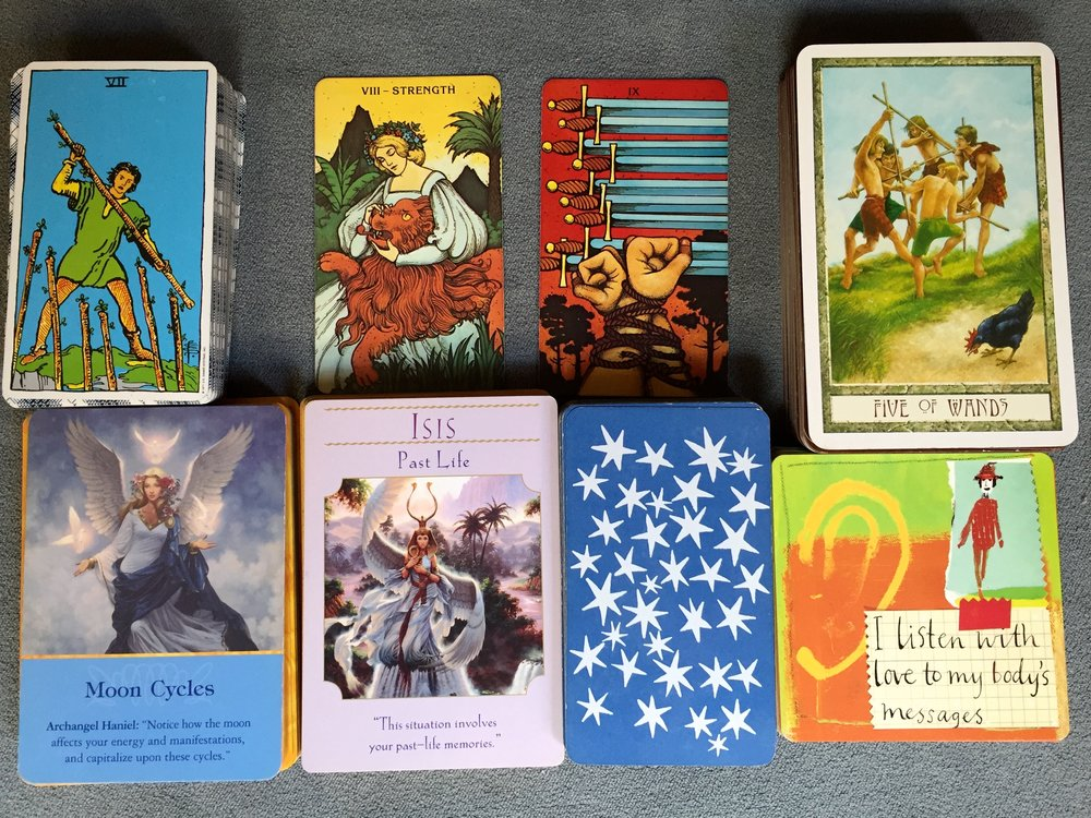 Decks: Rider Waite, Morgan Greer, Druid Craft, Doreen Virtue Archangels, Doreen Virtue Goddesses, Louise Hay's Power Thought