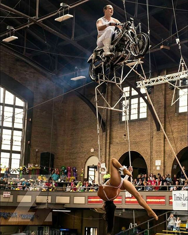 Hans & Natashia Winn performing their famous #inclinemotorcycle act at the Kingston Armory April 2017  Fun Fact: This Motorcycle has been performing for over 50 years on an incline high wire all over the world!  #tbt #WINNtertainment #HansWinn #NatashiaWinn #husbandanfwife #aerial #daredevil #stuntteam #billymartinpresents #coleallstarcircus #circus #eighthgeneration #performers #artists #worldclass #internationallyrenowned