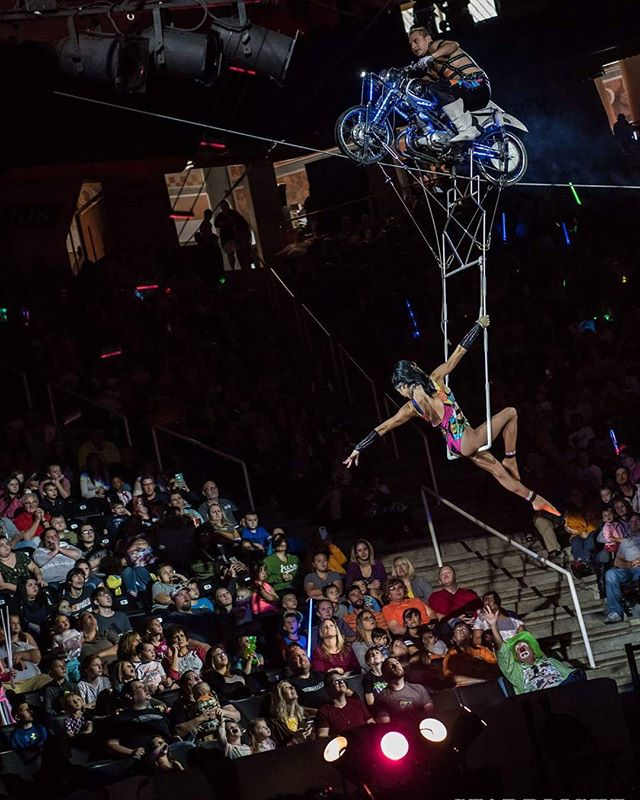 The #SKYMASTERS Hans & Natashia Winn performing their famous Incline Motorcycle in Knoxville, TN  #kerbelashrinecircus #WINNtertainment #HansWinn #NatashiaWinn #husbandandwife #aerial #daredevil #stunt #team #daredevildiva #inclinemotorcycle #skycycle #Winnstyle #WINN #Winnthrills #performers #acrobats #circus #bestinclass #worldclass #class #highest #thrilling #entertainment #aerialists #thompsonbolingarena Photo Credit to Starrlight Images @starrlight_mike