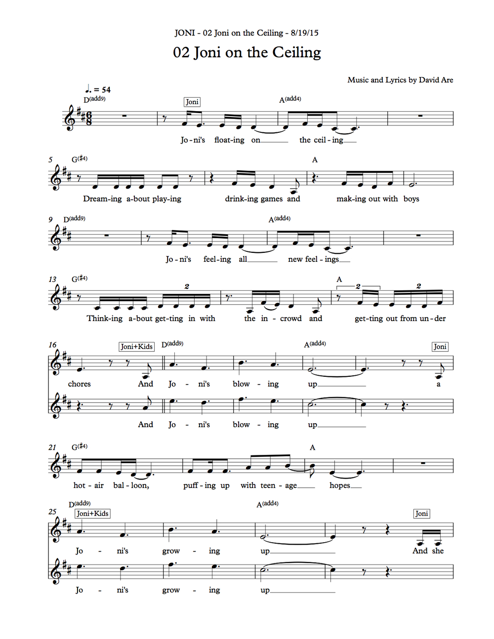 "sheet music ""Joni on the Ceiling"""