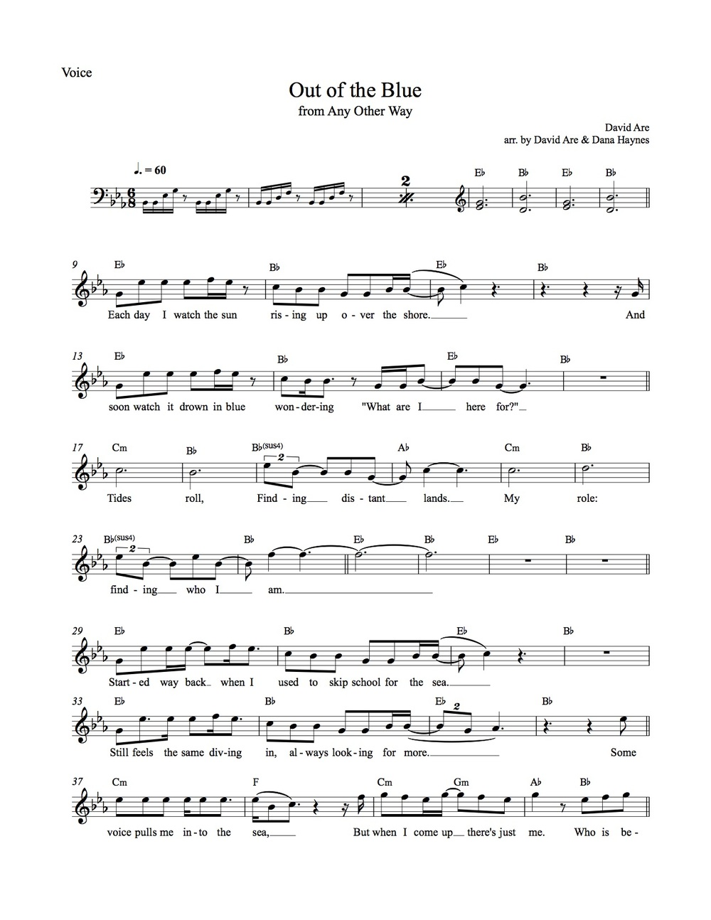 "sheet music ""Out of the Blue"""