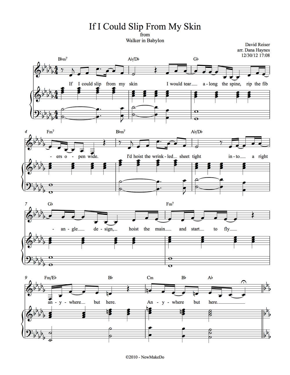 "sheet music ""Electro's Prayer"""