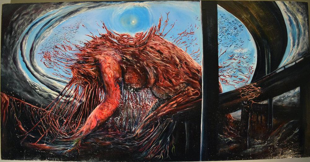 "A Luta (The Struggle)   2012  Oil on canvas. 33 x 65"""