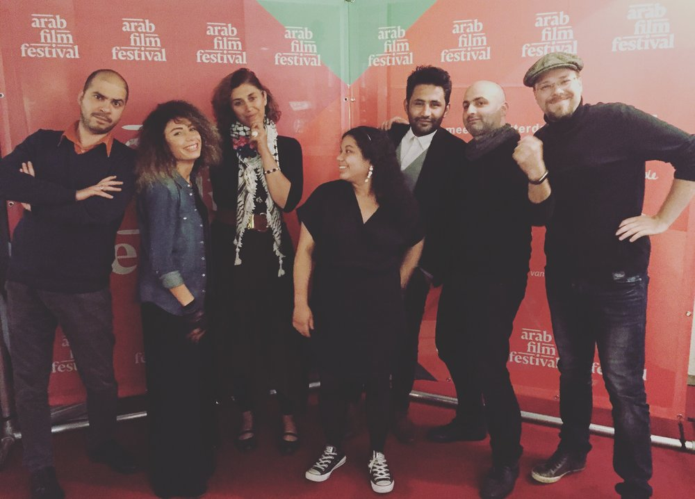 SELECTED FILMMAKERS: (left to right) waref abu quba, darine hotait (lab mentor), deema dabis, abigail prade, ahmed el daradji, fadi syriani & kristijan krajncan