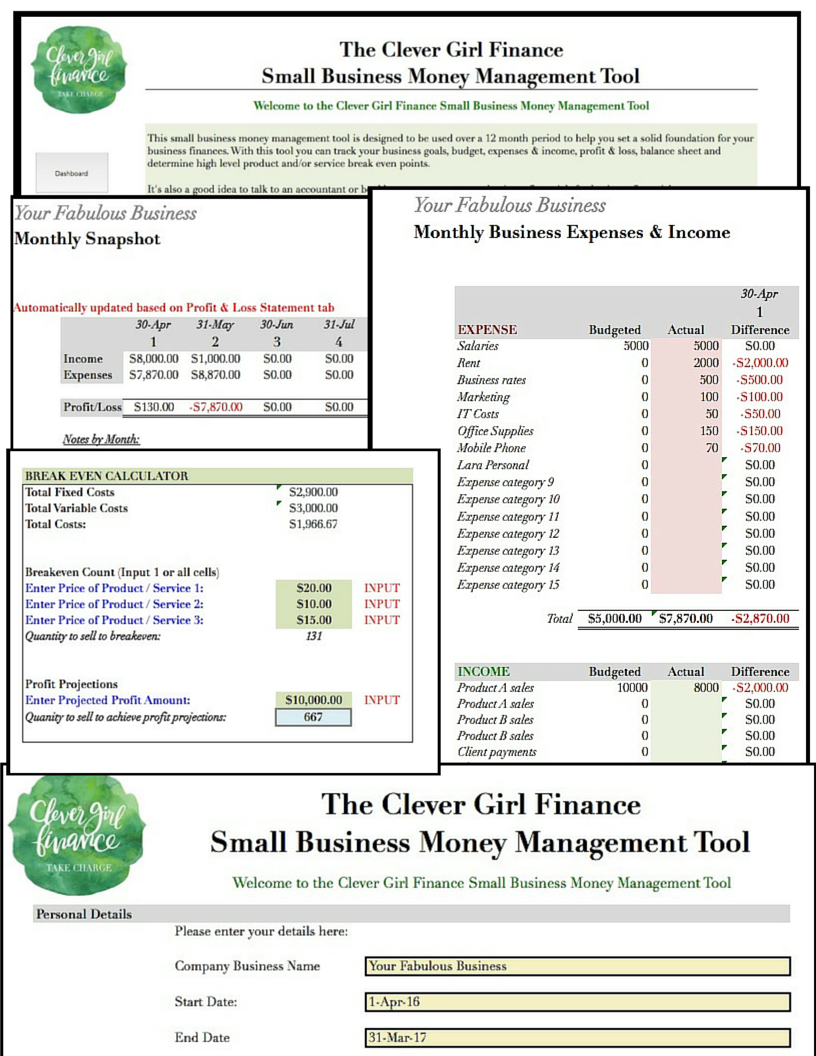 Small business money management spreadsheet