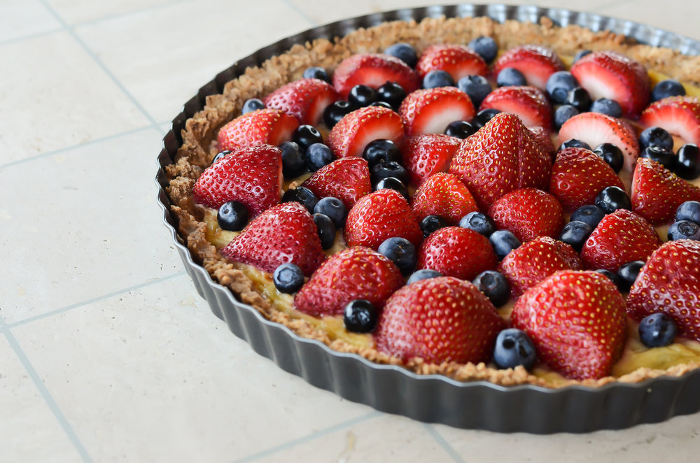 French Fruit Custard Tart - Crust Ingredients:- 1 1/2 cup all purpose flour- 1/3 cup granulated sugar- 1/2 teaspoon baking powder- 1/2 cup butter (1 stick of butter)Tart Ingredients:- 4 egg yolks (the yellow part; dispose of the egg whites)- 1 1/2 cup sour cream- 1/3 cup granulated sugar- 1 1/2 teaspoon vanillaFruits:- any combination of fruits (ex: strawberries, blueberries, nectarines (pitted), kiwi, fresh berries*Use a 12 inch tart pan with removable bottom