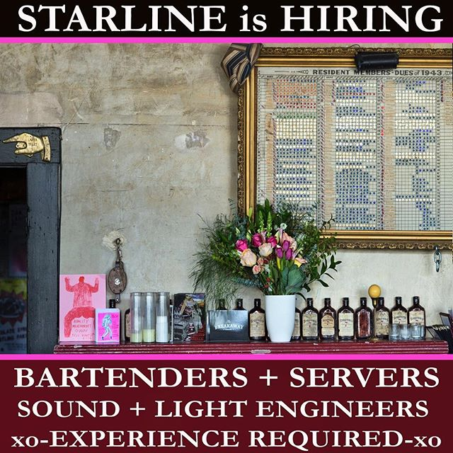 We're looking to hire some folks! Contact us if you're skilled, hard working, community minded and progressive AF! Our family grows!  Experience required! #letsbefriends #highbrowlowbrow #starlinesocialclub #thankyouoakland #makesome🧀