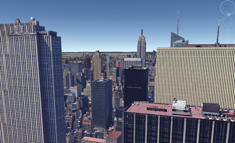 Simulated view in Google Earth from above the Time Life Building where the original Empire was filmed from the 41st floor.