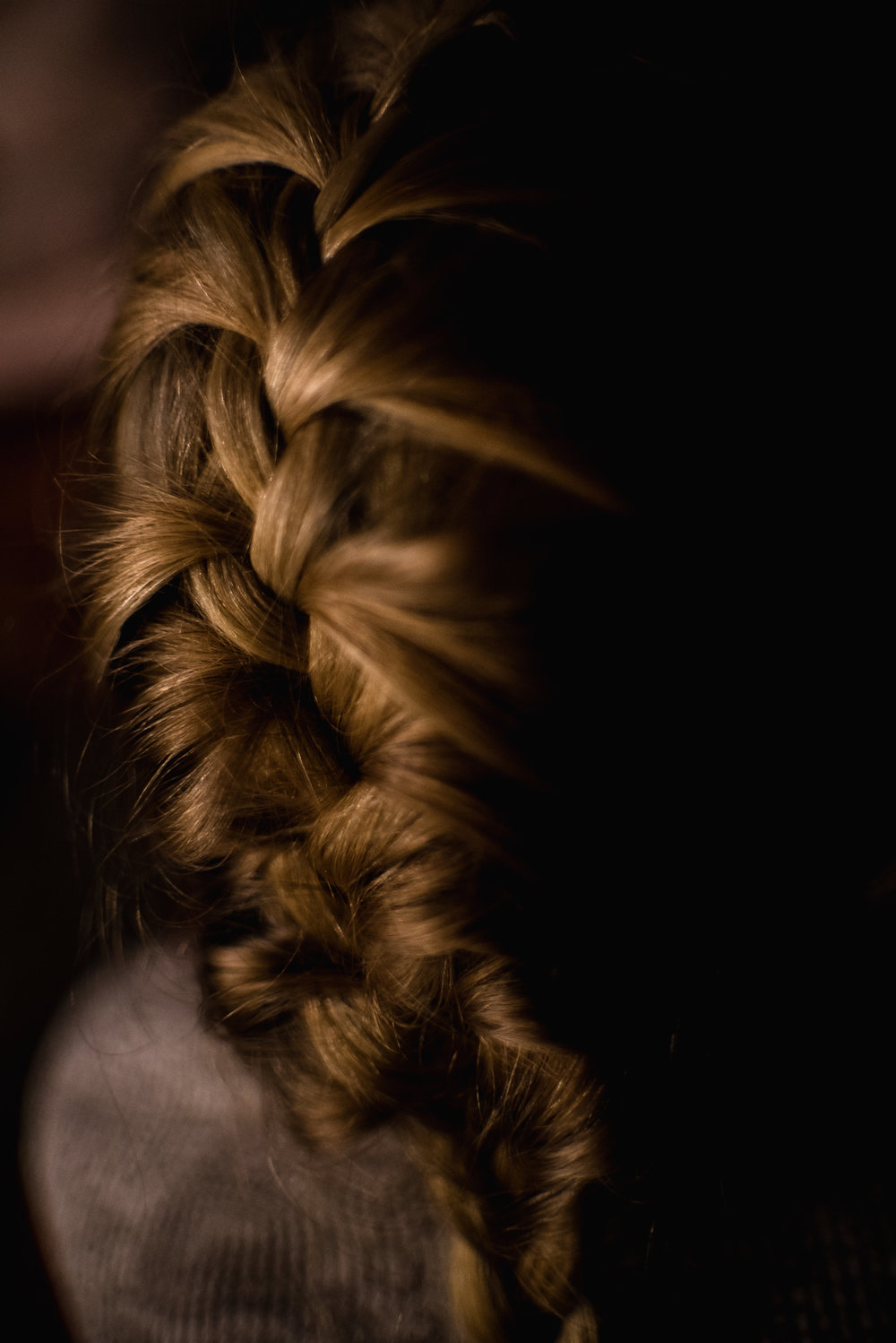 20/365 I am always up for a challenge, so when my daughter asked me to french braid her hair, I accepted. I don't have a lot of hair, it doesn't even grow to my shoulders. It is so thin that I cant even put it into a pony tail, let alone braid it in any fashion. This is the first French Braid I have ever done, and I am so highly visual, that I watched me doing it in my head while I was doing it on her. Pretty good for a first timer.