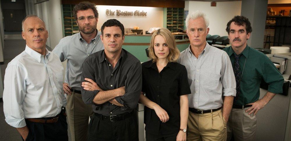 Michael Keaton, Liev Shreiber, Mark Ruffalo, Rachel McAdams, John Slattery, & Brian D'Arcy in  Spotlight  |Irish Times