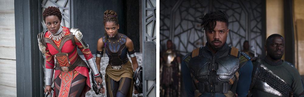 Lupita Nyong'o, Letitia Wright, Michael B. Jordan, & Daniel Kaluuya in  Black Panther  | Elite Daily/The Verge
