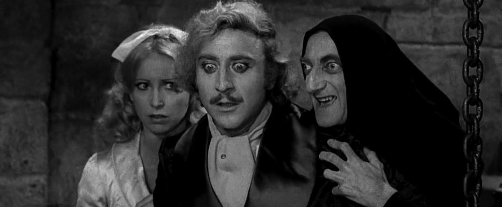 Teri Garr, Gene Wilder, and Marty Feldman in  Young Frankenstein  (1974)   American Cinematographer