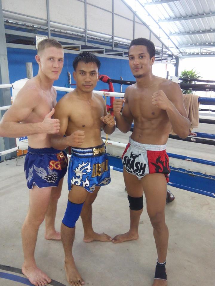 At Taling Ngam gym with Head trainer Meechai And fighter/trainer Kriss.