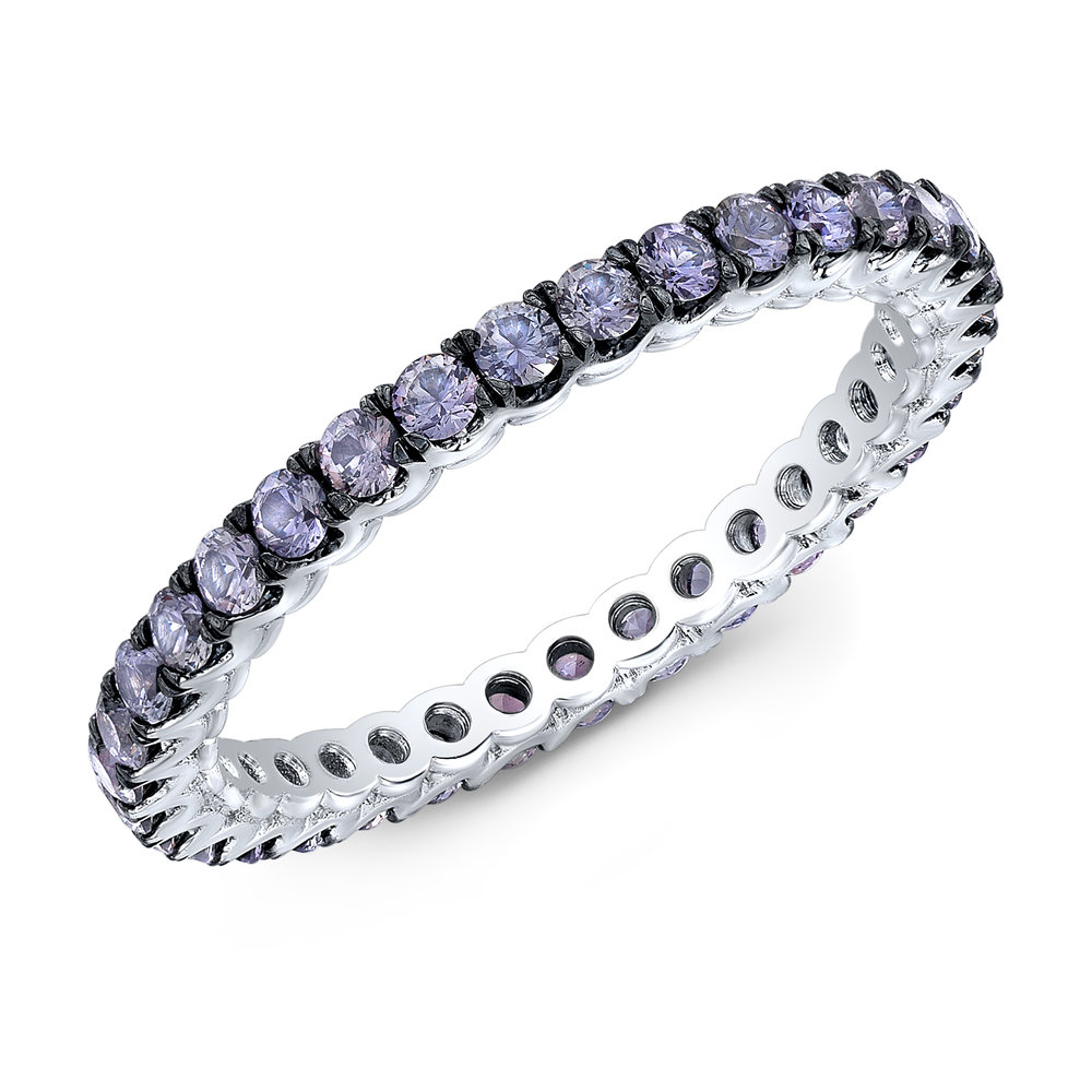 Lavender Sapphire Eternity Band Set In 18kt White Gold Kyla Donell