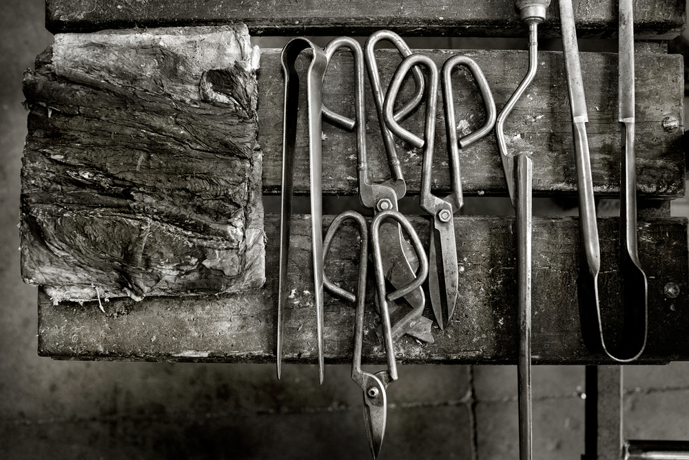 Traditional glassblowing tools.