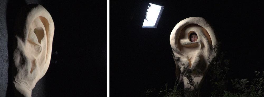 Das Ohr, 2017    Objekt-Bekleidung   Das Ohr wurde für den Kurzfilm  FRIDA  hergestellt, wo es auch mitspielte. Nun wandert es alleine durch die Nacht und sucht nach zukünftigen Engagements und Projekten.