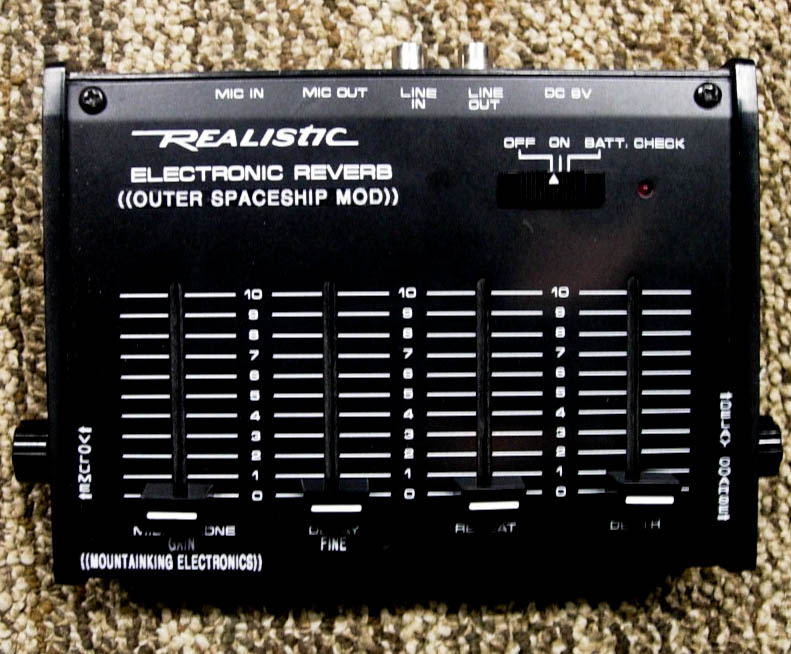 Outer Spaceship modded Realistic Reverb.  Super long delay with strange artifacts.